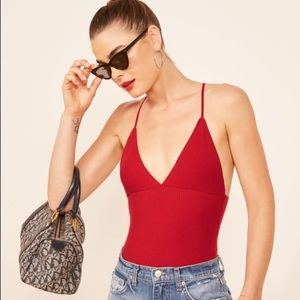 Reformation Guava Top in Cherry Red NEW